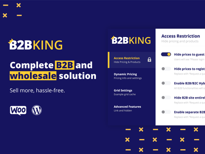 Wordpress B2B plugin redesign woocomerce woo-theme business b2b toggle pricing checkbox app logo gold yellow blue plugin wordpress redesign ux