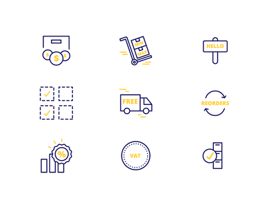 Small icon set for a B2B wordpress plugin iconography amount order vat b2b wordpress price discount scheme gold blue yellow icon set icon