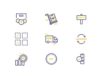 Small icon set for a B2B wordpress plugin iconography amount order vat b2b wordpress price discount scheme gold blue yellow icon set icon