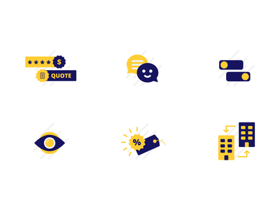 Icon set for a B2B wordpress plugin sell buy orders customers text wordpress business b2b quiz toggle visibility quote price yellow blue icon design iconography icon set icon
