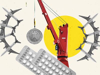 Article Illustration Collage crane contraceptive supplychains logistics money collage illustration