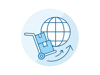 Transport icon icon design icon set iconography blue global shipping transport icon