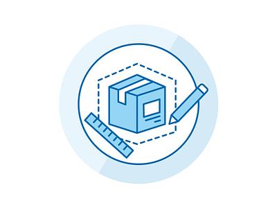 Product design icon pencil box app design icon set sell iconography blue customize branding icon design marketing icon