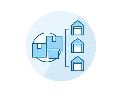 Distribution network icon iconography shipping warehouse box logistics distribution icon set icon