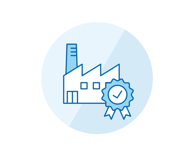 Quality control badge iconography blue manufacturing quality factory icon