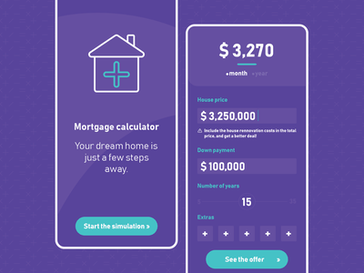 Mortgage calculator app dailyuichallenge dailyux dailyui simulation finance pay calculator mortgage app ui