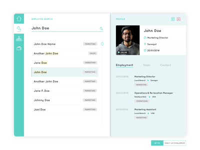 User Profile on a recruitment dashboard location agenda 006 dailyuichallenge dailyui dashboard ui user interface userinterface dashboard profile user
