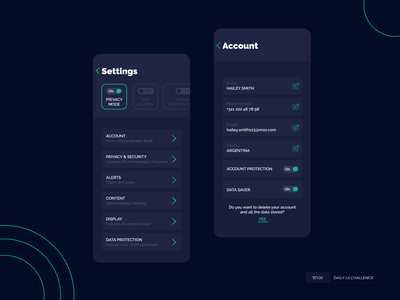 Settings menu dark dailyui dailyuichallenge settings ui app menu settings