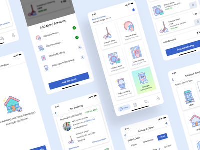 On-demand maid booking app app design human interface guidelines service app booking app on demand booking online maid booking minimalistic uidesign ios app maid service cleaning services