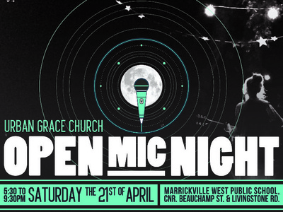 Open Mic Night Autumn 2018 logo branding vector typography design event poster design