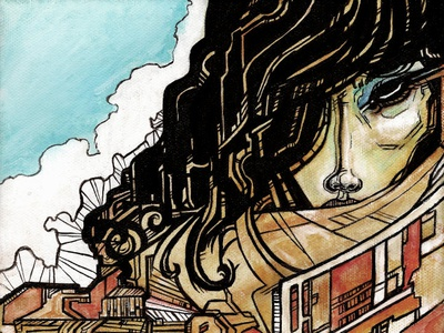 Regrets sci fi gouache ink character regret paint illustration canvas canvas print
