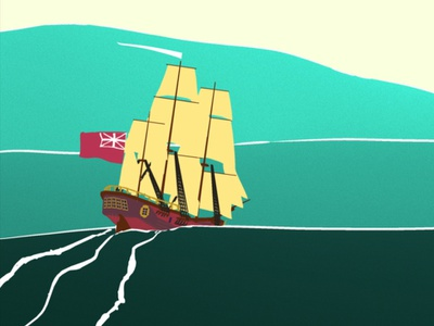 The Lady Penrhyn limited color palette ocean water 3d flat 3d flat flat animation ship animation