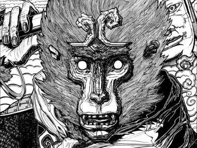 Sun Wukong australian tshirt tee brush pen detail detailed ink inked black and white magic monkey monkey king sun wukong illustration