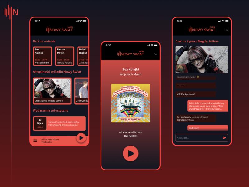 Radio Nowy Świat nowy świat internet radio radio product design ios figma ux ui design app