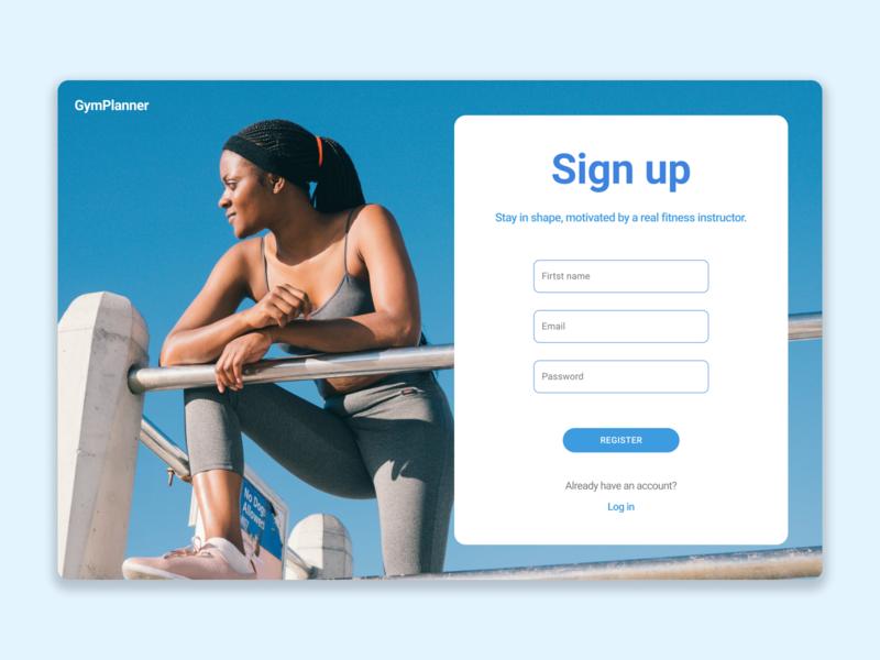 GymPlanner sign up form dailyui 001 dailyui registration signup figma ux ui design