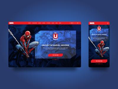 Landing Page for Marvel Unlimited comics marvel dailyui 003 dailyui product design figma ux ui design