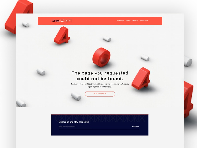 DNAScript simple 404 page 3d branding microsite design web webdesign website ux ui 404 error page 404 error 404 page 404