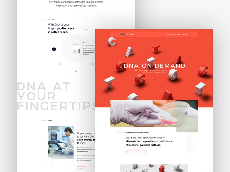 DNA Script Website Redesign product microsite mainpage design homepage webdesign website ux ui biotechnology biotech science dna