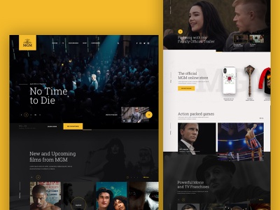 MGM creed yellow home clean theater cinema films movies james bond bond mgm homepage web website ux ui