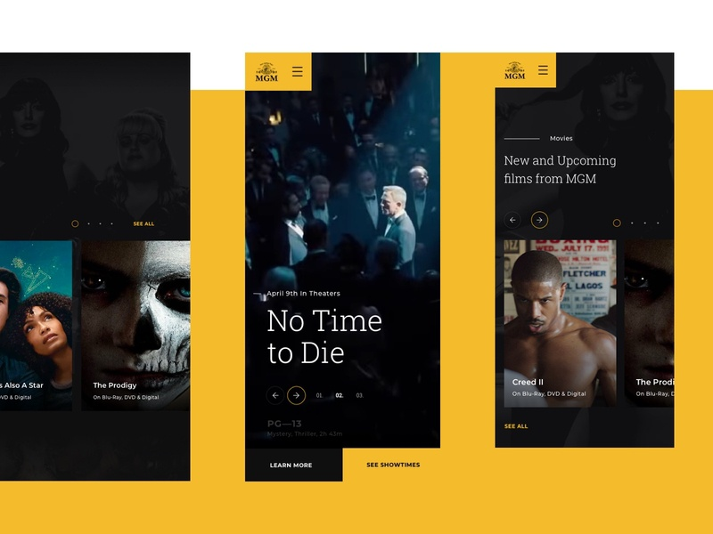 MGM microsite mainpage design homepage movies app mgm webdesign website ux ui 007 james bond movies