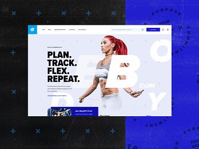 Bodybuilding.com wellness health diet ecommerce store supplements blue muscles workout fitness branding logo design homepage web webdesign website ux ui