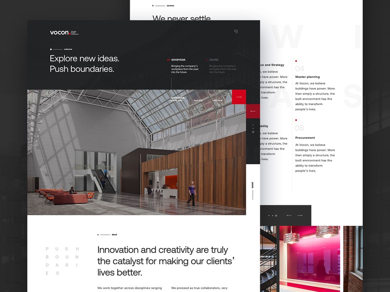 Vocon Architecture Concept Homepage homepage design concept photograhy typography architecture architects minimalist simple webdesign website ux ui homepage