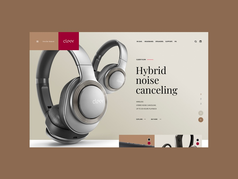 Cleer Concept . Homepage ecommerce products music headphones sound clean ux ui web webdesign index homepage design homepage