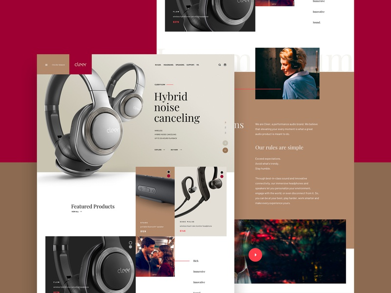 Cleer Concept . Homepage ecommerce products headphones audio home desktop homepage music design webdesign website ux ui