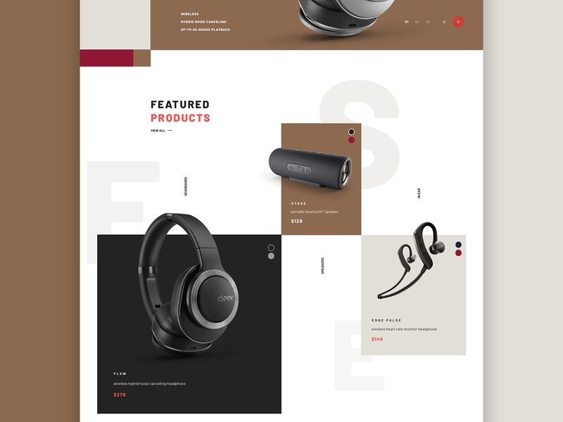 Product grid . Cleer Homepage Concept ecommerce products music speakers headphones audio web uidesign main screen mainpage main webdesign website ux ui
