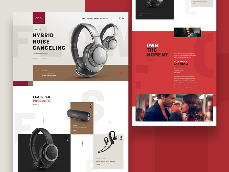 Cleer Homepage Concept B mainpage main design products music headphones ecommerce audio web webdesign website ux ui