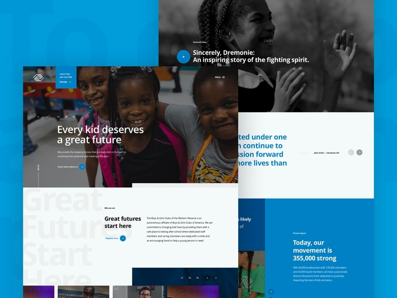 Boys & Girls Club of the Western Reserv web mainpage microsite design ux ui home clean website webdesign landing homepage about us