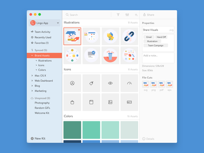 Lingo App (Refresh) branding asset manager new redesign update ux ui os x mac app lingo