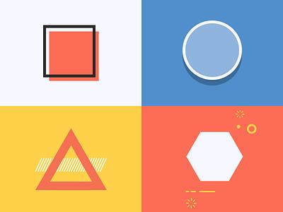 Shapes exploration treatments illustration color shapes shape hexagon triangle circle square