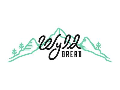Wyld Bread Brandmark script design brandmark logo branding brand scene landscape hand drawn type mountains