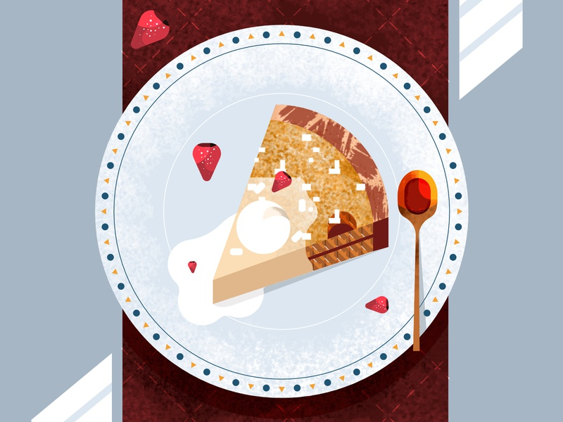 A slice of Cake food sweet dessert spoon dishes strawberry pastry cake texture shapes design illustration geometric vector flat simple 2d