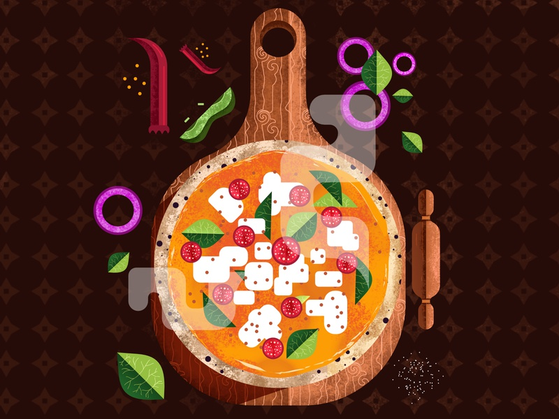 Cheesy Pizza hot pepperoni cheese toppings vegetables texture illustration vector geometric shapes simple design flat 2d food illustration pizza