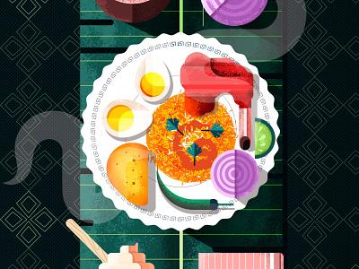 Indian Food Dish Biryani eat dinner restaurant food app grain texture indian potato meat onion egg rice food design vector illustration geometric shapes simple flat 2d