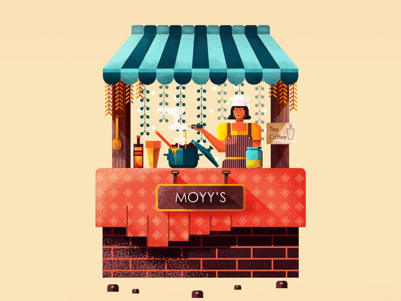 Small tea stall girl woman food cart chef character small business shop tea cafe stall character design shapes texture design illustration geometric vector flat simple 2d