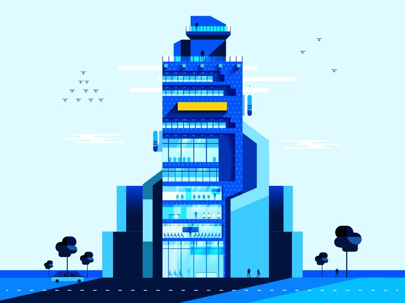 Big Enterprise - City office tower blue city nature illustration architecture buildings shapes texture design geometric illustration vector flat simple 2d