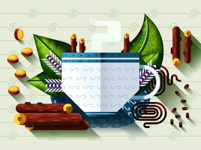 Liquorice - The Good Pills magazine illustration editorial illustration flower medicine herbs liquorice licorice beverages tea cup texture shapes geometric design illustration vector flat simple 2d