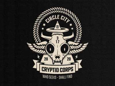Cryptid Corps vector all seeing eye msg317 2020 wings pyramid horns skull cat vintage graphic design badge lockup logo indianapolis cryptid