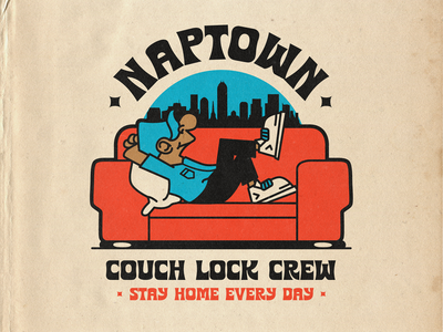 Naptown Couch Lock Crew 420 chronic sans retro paper texture true grit texture supply indianapolis illustration cartoon couch naptown stay home stayhome