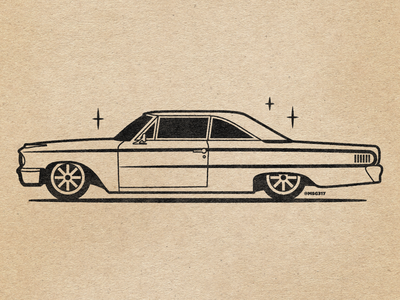 1963 Ford Galaxie 500 linework line art vector illustration msg317 lowrider automobile retro vintage linedrawing car ford ford galaxie