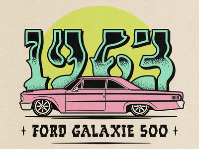 Low Rider Life photoshop adobe illustrator old school vintage paper texture vector stipple illustration classic car ford msg317 low rider automobile car