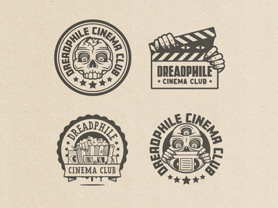 Dreadphile Cinema Club Lockups badge graphic design graphicdesign film logo vintage retro vhs horror movies clabboard skull club cinema lockups lockup
