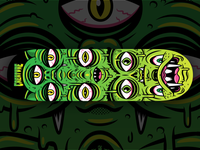Mutated Critters Skateboard green skateboards illustrator illustration vector creaturegraphicfreakout thrashin drippy slime monsters cryptid creatures skateboard graphics skateboard