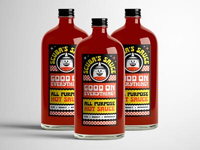 Sauce Label Bottles Mockup saucy adobe illustrator vector hotsauce stickers branding sauce hot bottle packaging label design label