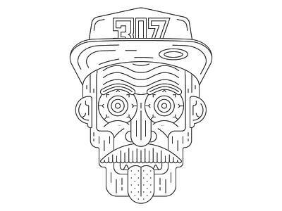 :p hat tounge face line illustration