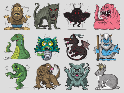 Cryptid Sticker Pack monsters merman mothman nj devil ness frog loveland yeti mongolian death worm chupacabra bigfoot cryptid