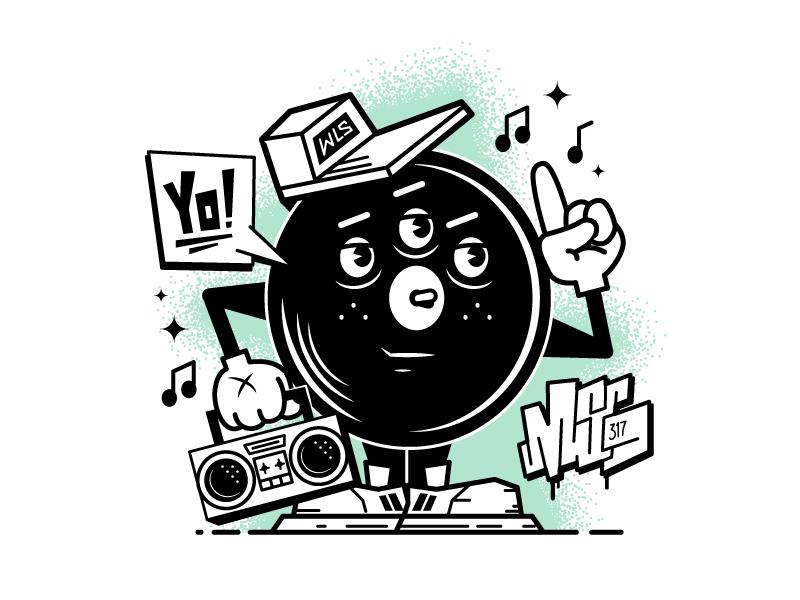 Yo! boombox hat character cartoon rap record music vinyl msg317